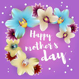 Happy mothers day lettering orchid backdrop Royalty Free Stock Photos