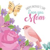 Happy mothers day love mom bird butterfly romantic flowers Royalty Free Stock Photography
