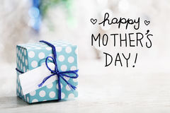Happy Mothers Day message with gift box royalty free stock image