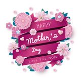 Happy mothers day message and pink flowers with ribbon stock illustration