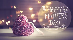 Happy Mothers Day message with pink heart stock image