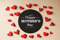 Happy Mothers Day message with small hearts stock image
