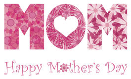 Happy Mothers Day Mom Alphabet Flowers. Happy Mothers Day with MOM Alphabet Letters Outline in Floral Patterns Illustration Isolated on White Background