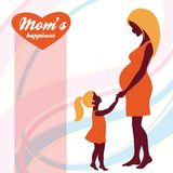 Happy Mothers Day. Motherhood and Childhood. Colored illustration Royalty Free Stock Photos
