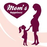 Happy Mothers Day. Motherhood and Childhood. Colored illustration Royalty Free Stock Images