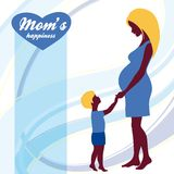 Happy Mothers Day. Motherhood and Childhood. Colored illustration Royalty Free Stock Photo