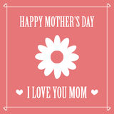 Happy mothers day. Mothers day card. Retro design with a heart and flowers on pink background. Editable vector illustration Royalty Free Illustration