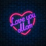 Happy Mothers Day neon glowing festive sign on a dark brick wall background. Love you mom in heart shape. Holiday greeting card with lettering. Vector stock illustration
