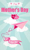 Happy Mothers Day and origami airplane Royalty Free Stock Images