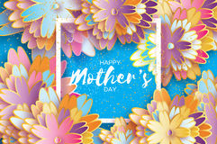 Happy Mothers Day. Origami Gold Floral Greeting card. Paper cut flower .Square frame. Royalty Free Stock Images