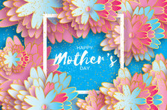 Happy Mothers Day. Origami Gold Floral Greeting card. Paper cut flower .Square frame. Stock Image