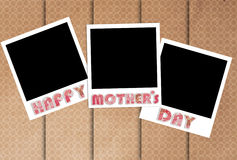 Happy mothers day photo frames on designer wallpaper Royalty Free Stock Photos
