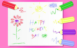 Happy Mothers Day. Pink background of greeting card for mother and colorful pencils Royalty Free Stock Photo