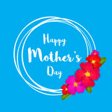 Happy Mothers Day. Pink Floral Greeting card with Bunch of Spring Flowers holiday blue background. Stock Photography