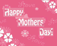 Happy Mothers Day Pink Floral Greeting Notecard Stock Images