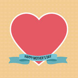 Happy mothers day pink heart ribbon Stock Photography
