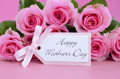 Happy Mothers Day Pink Roses Background. Royalty Free Stock Photos