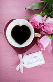 Happy Mothers Day Pink Roses and Heart Shape Tea Cup. Royalty Free Stock Image
