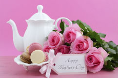 Happy Mothers Day Pink Roses and Tea Setting. Stock Photos
