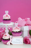 Happy Mothers Day pink and white cupcakes. Stock Image