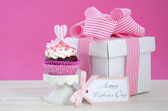 Happy Mothers Day pink and white cupcakes. Stock Photo