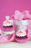 Happy Mothers Day pink and white cupcakes. Royalty Free Stock Photos