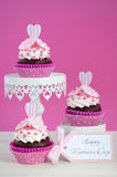 Happy Mothers Day pink and white cupcakes. Stock Photos