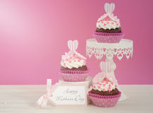 Happy Mothers Day pink and white cupcakes. Stock Images