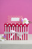 Happy Mothers Day pink and white gift with greeting card. Stock Photography