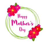 Happy Mothers Day. PinkFloral Greeting card with Bunch of Spring Flowers holiday white background. Stock Photography