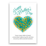 Happy Mothers Day postcard. Heart shaped design. Royalty Free Stock Photos