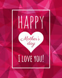 Happy Mothers Day poster. Low poly background. Modern design. Stock Photo