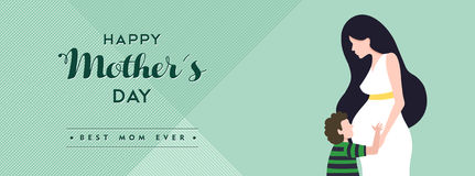 Happy mothers day pregnant mom banner illustration Royalty Free Stock Photo