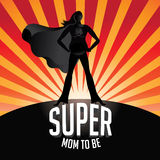Happy Mothers Day pregnant Super mom to be burst. Happy Mothers Day pregnant Super mom to be EPS 10 vector royalty free stock illustration Stock Photos
