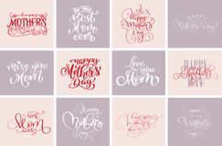 Happy mothers day quotes, Best mom ever. Set of vector t-shirt or postcard print design, Hand drawn vector calligraphic stock illustration