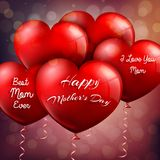 Happy Mothers Day with red balloons hearts Stock Photography