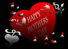 Happy Mothers Day Red Black Heart Card Stock Images