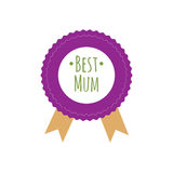 Happy Mothers Day ribbon badge Stock Photography