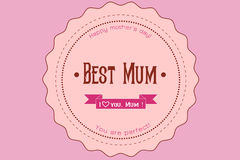 Happy Mothers Day ribbon badge Stock Images