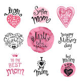 Happy Mothers Day. Set of Hand-drawn Lettering. Ink and watercolor. Artistic design for a greeting cards, invitations, posters, banners vector illustration