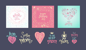 Happy Mothers Day. A Set of templates with hand-drawn floral background and Lettering. Artistic design for a greeting cards, invitations, posters, banners royalty free illustration