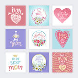 Happy Mothers Day. A Set of templates with hand-drawn Lettering. Artistic design for a greeting cards, invitations, posters, banners royalty free illustration