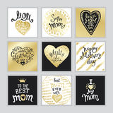 Happy Mothers Day. A Set of templates with hand-drawn Lettering. Ink and gold. Artistic design for a greeting cards, invitations, posters, banners vector illustration