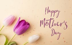 Happy mothers day sign and flowers composition. Studio shot. Royalty Free Stock Image