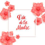 Happy Mothers Day Spanish Greeting Card. Beautiful blooming paper flowers on a white background Royalty Free Stock Image