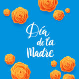 Happy Mothers Day Spanish Greeting Card. Beautiful Blooming Yellow Rose Flowers on Blue Background Royalty Free Stock Photos