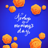 Happy Mothers Day Spanish Greeting Card. Beautiful Blooming Yellow Rose Flowers on Blue Background Stock Photo