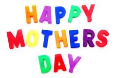 Happy Mothers Day. Spelled with colorful magnetic letters royalty free stock photography