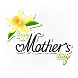 "Happy Mothers Day sticker with yellow flower on light background. Inscription ""Happy Mother's day!"" with yellow orchid and green leaves as a paper sticker Stock Image"