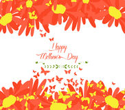 Happy mothers day with sunflowers and butterflies background Stock Photos